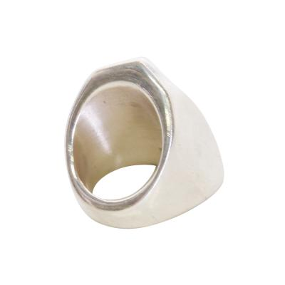Taxco Taxco Sterling Silver Wide Band Ring Stylish Signet Mexico Modernism 1970s