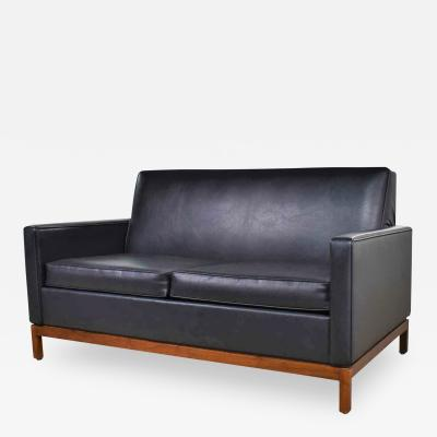 Taylor Chair Co Mid century modern black faux leather love seat sofa by taylor chair co