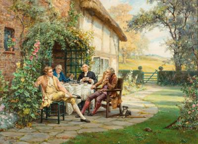 Tea at the Vicarage by Margaret Dovaston dated 1952