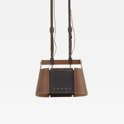 Temde Leuchten Rare Temde Pendant Lamp in plywood leather and metal Switzerland 1950s