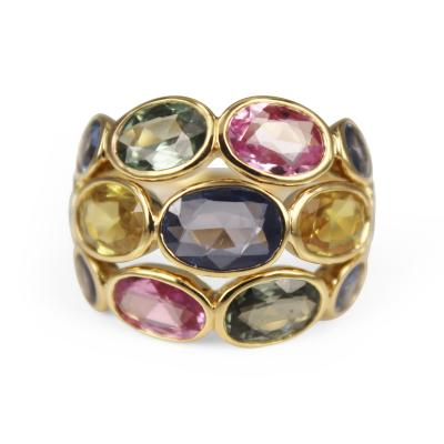 Temple St Clair Temple St Clair Multi Colored Sapphire Ring with Diamonds