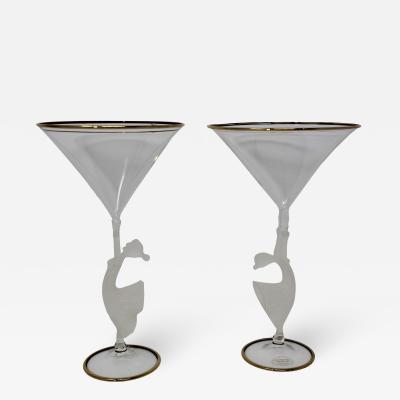 Tessaro Murano Glass Martini Glasses by Tessaro a Pair