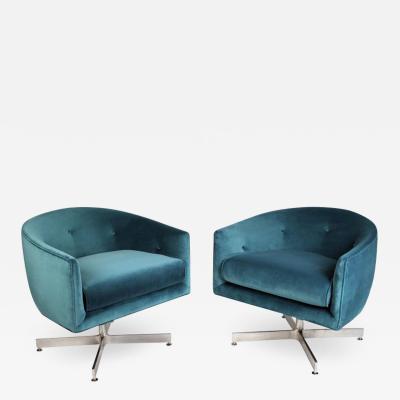 Thayer Coggin Milo Baughman Commercial Grade Tilt and Swivel Lounge Chairs for Thayer Coggin