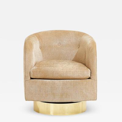 Thayer Coggin Milo Baughman for Thayer Coggin Swivel Chair Brass Base circa 1970