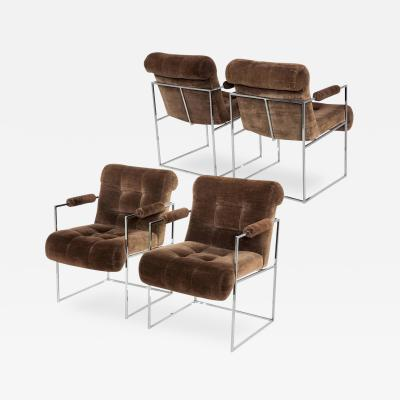 Thayer Coggin Set of Four Milo Baughman Brown Lounge Chairs by Thayer Coggin