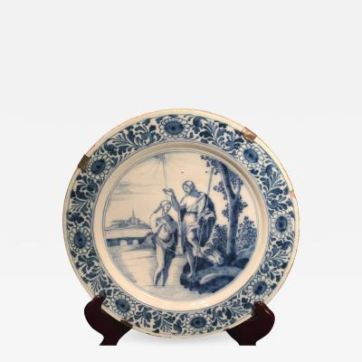 The Holy Bible Dutch Delft Charger The Baptism of Christ