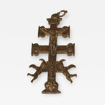 The Holy Bible Early Bronze Cross of Caravaca