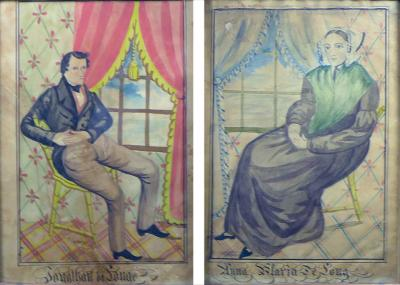 The Reading Artist Watercolor Portrait Pair of Jonathan Anna Maria DeLong