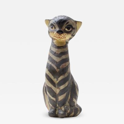 Thelma Frazier Winter Ceramic Sculpture Cat 1955 USA