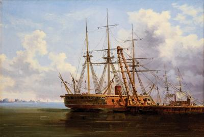 Thistlethwaite Americana Xanthus Russell Smith New Ironsides at the Philadelphia Navy Yard c 1863