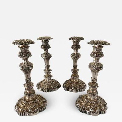 Thomas Bradbury Sons Ltd Set of Four Thomas Bradbury Antique Sheffield Rococo Repousse Candlesticks