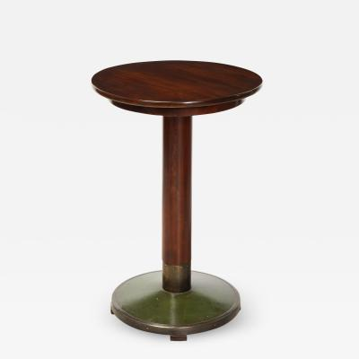 Thonet Center Table with Brass and Leather Base