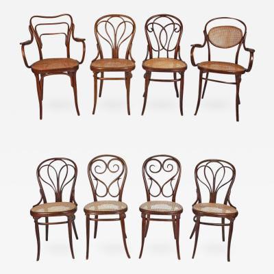 Thonet Collection of Eight Viennese Secessionist Dining Chairs Thonet Mundus J J Kohn