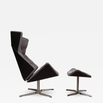Thonet Gebruder Thonet Tilt and Swivel Lounge Chair and Ottoman