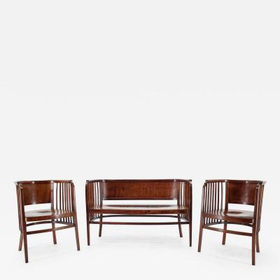 Thonet Marcel Kammerer Wooden Sofa And Chairs For Gebruder Thonet 1910s
