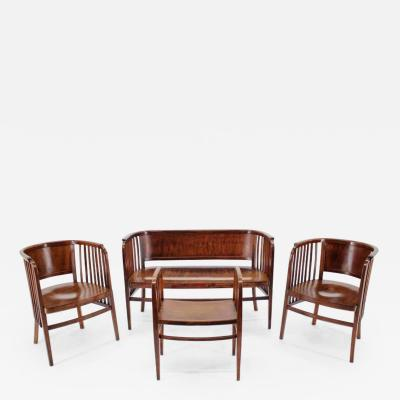 Thonet Marcel Kammerer Wooden Sofa Chairs And Stool For Gebruder Thonet 1910s