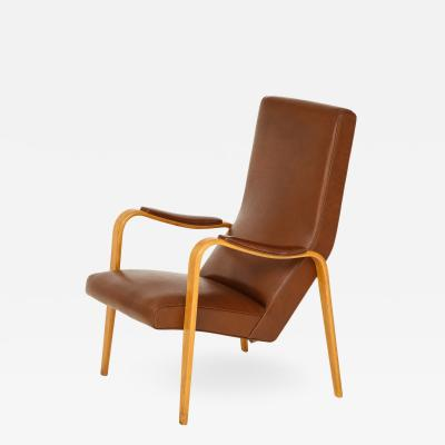 Thonet Mid 20th Century Walnut and Leather Open Armchair