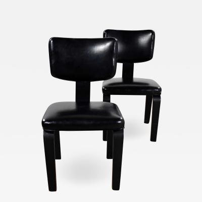 Thonet Mid century modern pair of black thonet bentwood and vinyl chairs