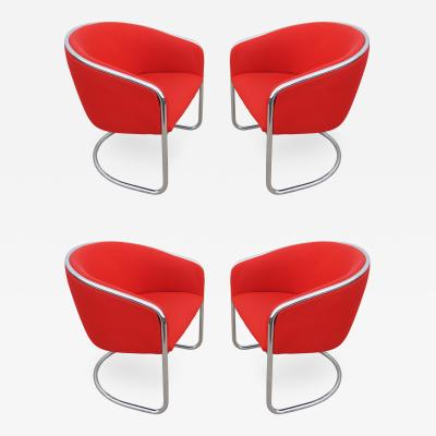 Thonet Set of Four Chrome Cantilevered Armchairs by Thonet