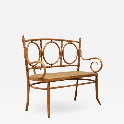 Thonet Thonet sofa in bent wood with straw seat Vienna 1880s