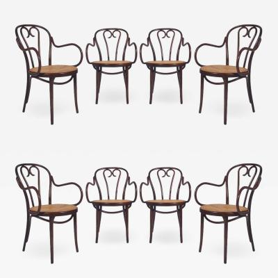 Thonet Vintage Set of Eight Bentwood and Cane Seat Armchair Dining Chairs by Thonet