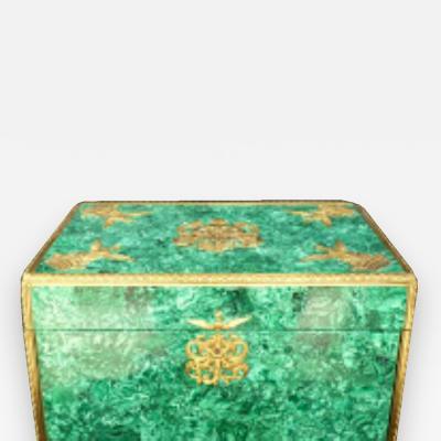 Tiffany Co 120 Piece Tiffany Gilt Sterling Flatware in Boudet Malachite Dore Box
