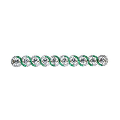 Tiffany Co Art Deco Platinum Emerald and Diamond Bar Brooch by Tiffany Co