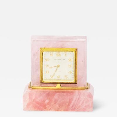 Tiffany Co Art Deco Tiffany Co 1920s Pink Quartz Cream Dial Boudoir Clock