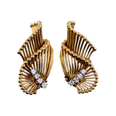 Tiffany Co Mid 20th Century Diamond and Gold Earrings