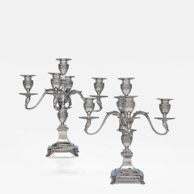 Tiffany Co Pair of Tiffany Co Antique Sterling Silver Five Light Candelabra with Swans