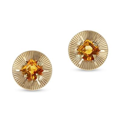 Tiffany Co RETRO TIFFANY CO 6MM CITRINE EARRINGS 14K YELLOW GOLD