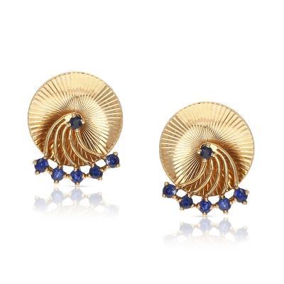 Tiffany Co RETRO TIFFANY CO SPINNING BLUE SAPPHIRE EARRINGS 14 KARAT YELLOW GOLD