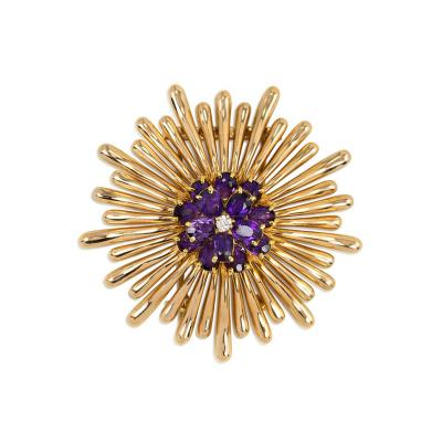 Tiffany Co Retro Gold Burst Brooch with Amethyst and Diamond Center Tiffany
