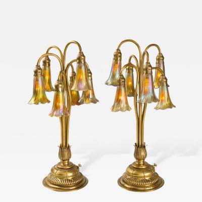 Tiffany Co Six Light Lily Tiffany Lamps