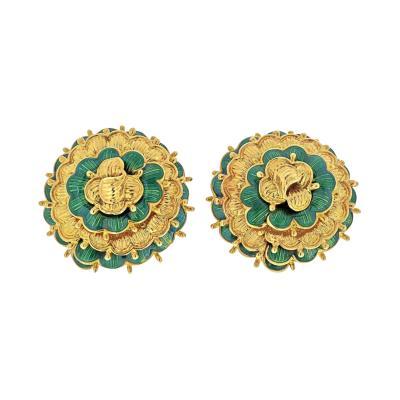 Tiffany Co TIFFANY 18K YELLOW GOLD VINTAGE FLOWER EARRINGS
