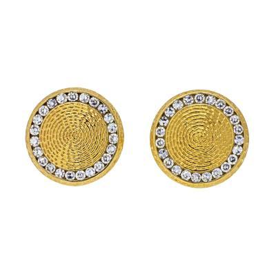 Tiffany Co TIFFANY CO 14K YELLOW GOLD DIAMOND CIRCLE CUFF LINKS