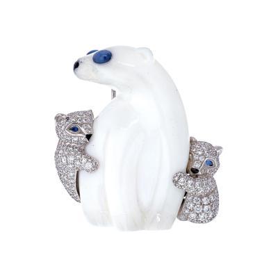 Tiffany Co TIFFANY CO 18K WHITE GOLD CHALCEDONY POLAR BEAR BROOCH