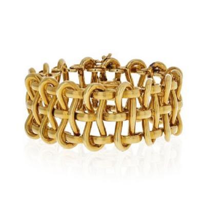 Tiffany Co TIFFANY CO 18K YELLOW GOLD 1970S OPEN WIRE WIDE BRACELET