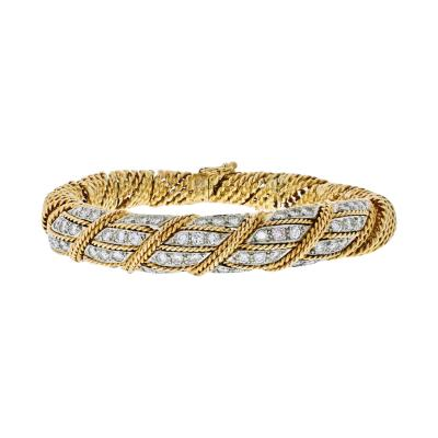Tiffany Co TIFFANY CO 18K YELLOW GOLD 4 50 CARATS DIAMOND WOVEN ROPES BANGLE BRACELET