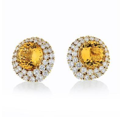Tiffany Co TIFFANY CO 18K YELLOW GOLD CITRINE AND DIAMOND CLIP ON 12 CARAT EARRINGS