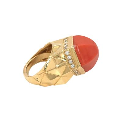 Tiffany Co TIFFANY CO 18K YELLOW GOLD CORAL DIAMOND COCKTAIL RING