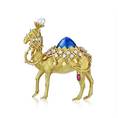 Tiffany Co TIFFANY CO 18K YELLOW GOLD DIAMOND RUBY PEARL AND ENAMEL CAMEL BROOCH