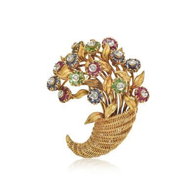Tiffany Co TIFFANY CO 18K YELLOW GOLD SAPPHIRE EMERALD RUBY AND DIAMOND BROOCH
