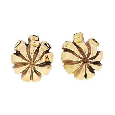 Tiffany Co TIFFANY CO 18K YELLOW GOLD SWIRL LEAF FLOWER EARRINGS
