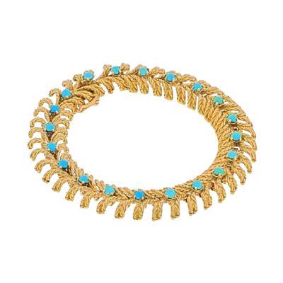 Tiffany Co TIFFANY CO 18K YELLOW GOLD TURQUOISE VINTAGE BRACELET