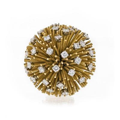 Tiffany Co TIFFANY CO 1960S 18K YELLOW GOLD SEA URCHIN DIAMOND BROOCH
