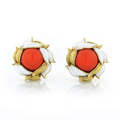 Tiffany Co TIFFANY CO 1970S 18K YELLOW GOLD CORAL AND WHITE ENAMEL CLIP ON EARRINGS