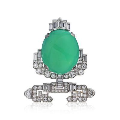 Tiffany Co TIFFANY CO ART DECO GREEN CABOCHON CARNELIAN AND DIAMOND BROOCH