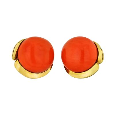 Tiffany Co TIFFANY CO CORAL 18K YELLOW GOLD ROUND CORAL CLIP EARRINGS