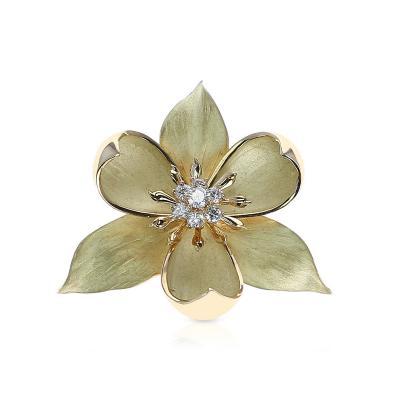 Tiffany Co TIFFANY CO FLORAL DIAMOND BROOCH 18 KARAT YELLOW GOLD